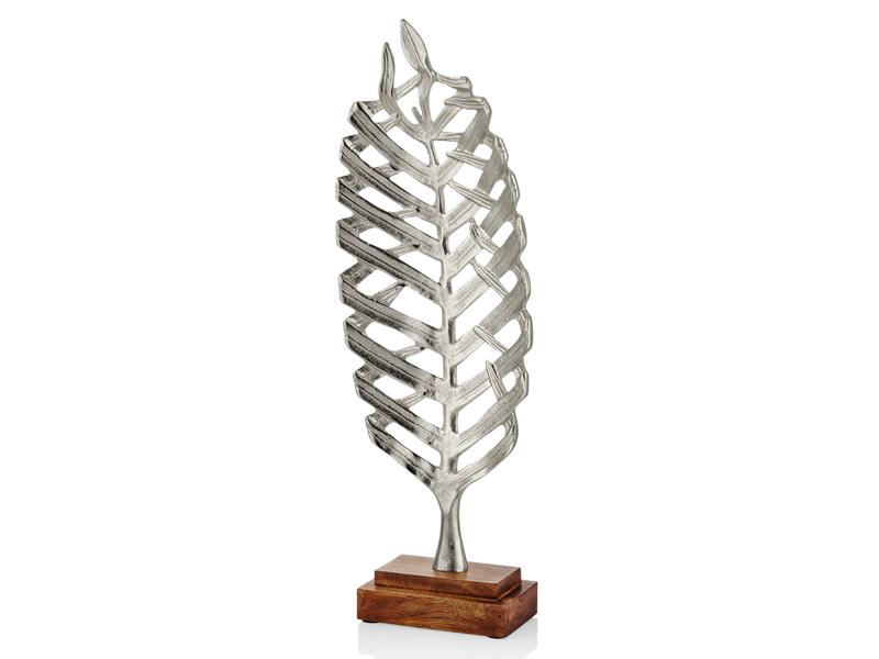 Ahşap Tabanlı Yaprak Dekoratif Silver Küçük