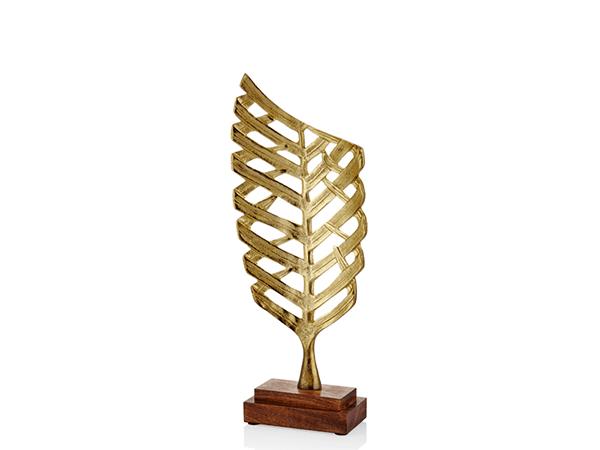 Ahşap Tabanlı Geniş Yaprak Dekoratif Gold Büyük