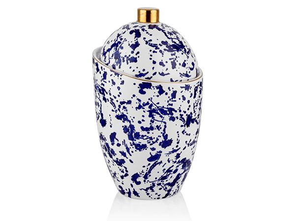 Dalmatien Mavi Gold Eğri Kapaklı Vazo