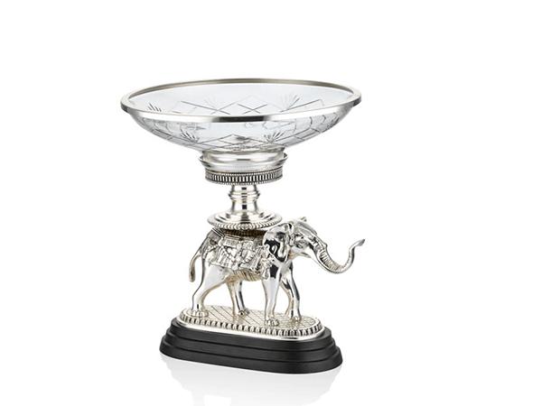 Fil Desenli Gümüş Renk Dekoratif Cam Kase